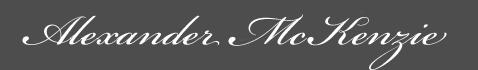 Text: Signature image of Alexander MacKenzie aka. Alasdair MacCoinnich, by George Stuart.