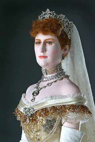 Portrait length color image of Alexandra Princess of Wales aka. Alexandra of Denmark,  Queen to Edward VII,  and Queen Mother, by George Stuart.