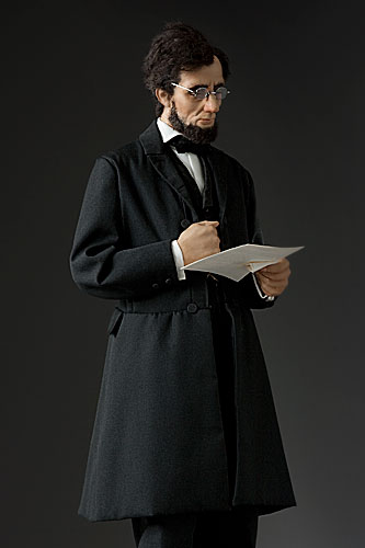 Portrait length color image of President Abraham Lincoln at Gettysburg, 1863  aka. The Great Emancipator, by George Stuart.