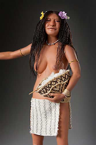 Portrait length color image of Arawak Woman, by George Stuart.