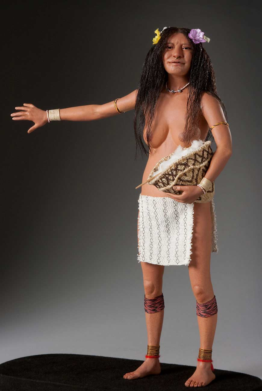 Full length color image of Arawak Woman, by George Stuart.