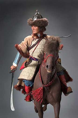 Portrait length color image of Attila the Hun aka.