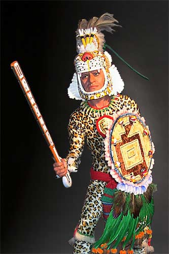 Portrait length color image of Aztec Leopard Warrior V.1 aka. pīpilti military class, by George Stuart.