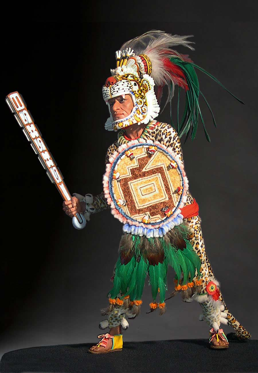 Full length color image of Aztec Leopard Warrior V.1 aka. pīpilti military class, by George Stuart.