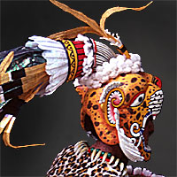 Left close up color image of Aztec Leopard Warrior V.1 aka. pīpilti military class, by George Stuart.