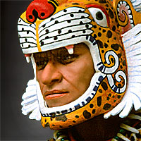 Right closup color image of Aztec Leopard Warrior V.1 aka. pīpilti military class, by George Stuart.
