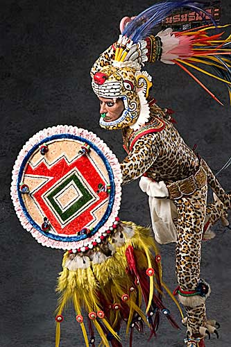 Portrait length color image of Aztec Leopard Warrior V.2, by George Stuart.