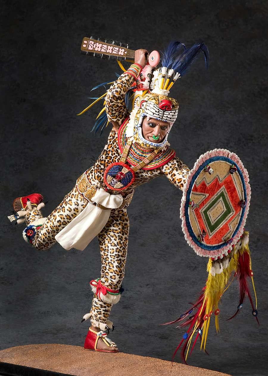 Full length color image of Aztec Leopard Warrior V.2, by George Stuart.