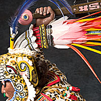 Right closup color image of Aztec Leopard Warrior V.2, by George Stuart.