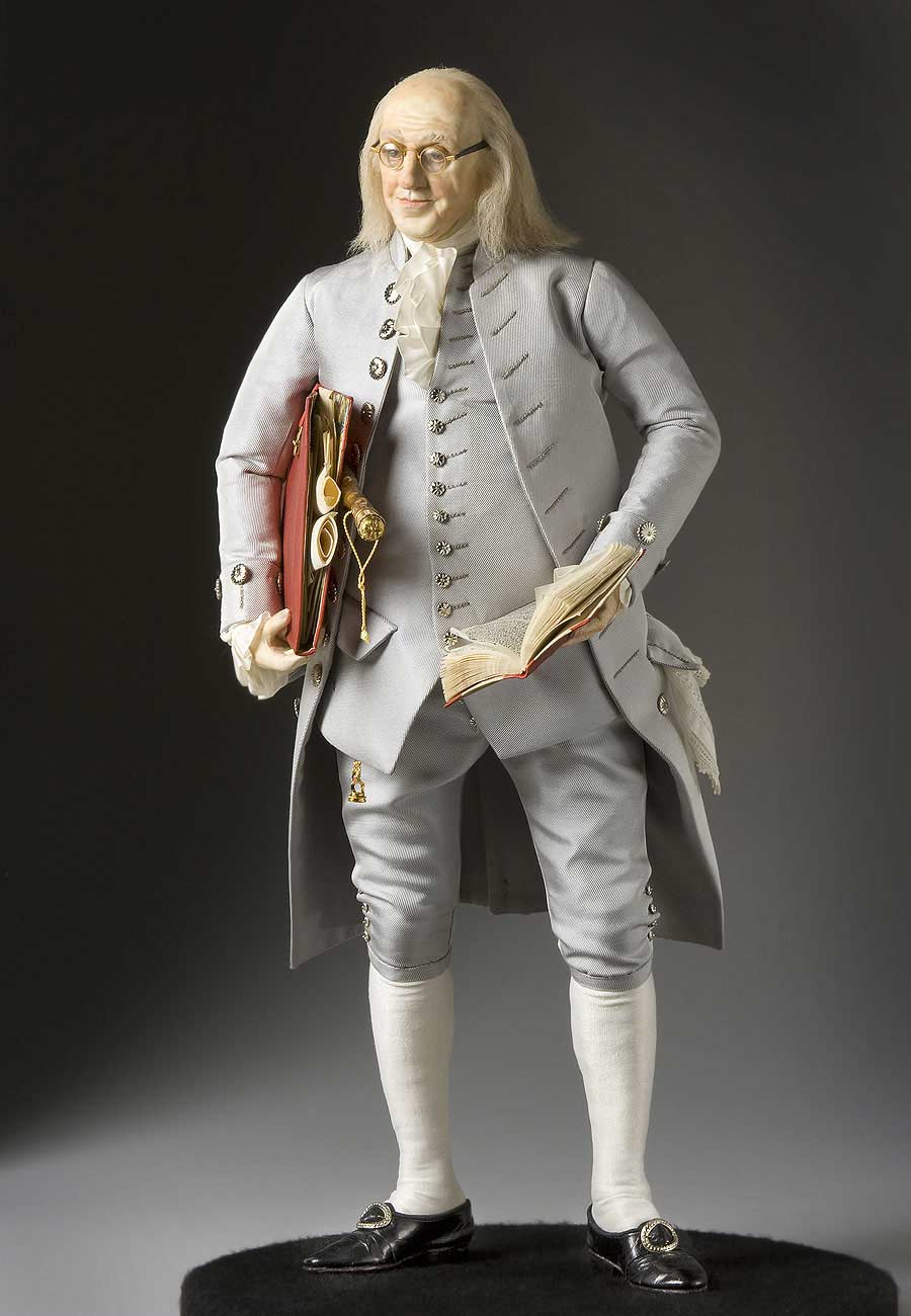 Full length color image of Benjamin Franklin aka. The First American  in England, by George Stuart.