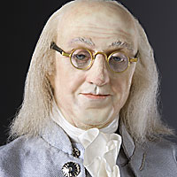 Left close up color image of Benjamin Franklin aka. The First American  in England, by George Stuart.