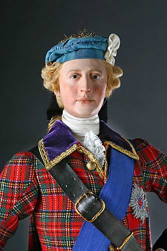 Portrait length color image of Bonnie Prince Charlie aka. Charles Edward Stuart, by George Stuart.
