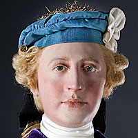 Left close up color image of Bonnie Prince Charlie aka. Charles Edward Stuart, by George Stuart.