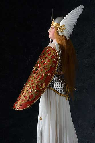 Portrait length color image of Brunhild Warrior, by George Stuart.
