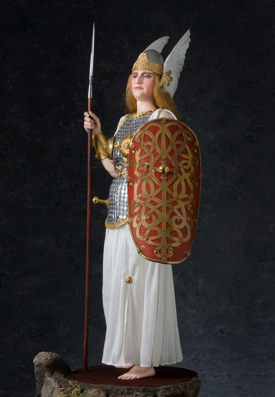 Full length color image of Brunhild Warrior, by George Stuart.