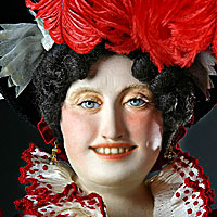 Left close up color image of Caroline von Brunswick aka. Queen Caroline,  Caroline of Brunswick, by George Stuart.