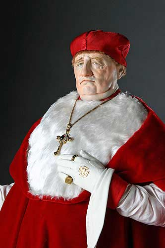 Portrait length color image of Cardinal Thomas Wolsey aka. Thomas Woolsey,   Anglican Bishop of York, by George Stuart.