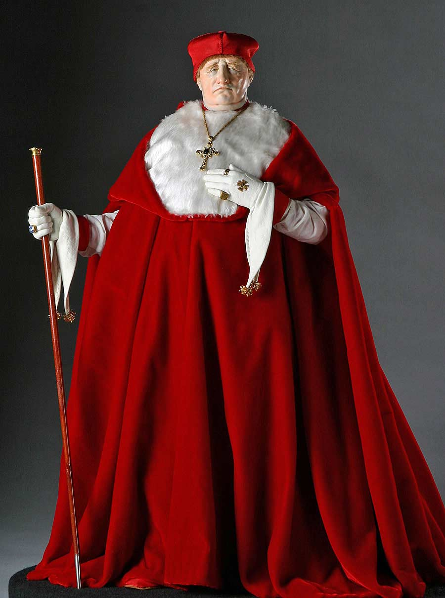 Full length color image of Cardinal Thomas Wolsey aka. Thomas Woolsey,   Anglican Bishop of York, by George Stuart.