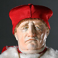 Left close up color image of Cardinal Thomas Wolsey aka. Thomas Woolsey,   Anglican Bishop of York, by George Stuart.