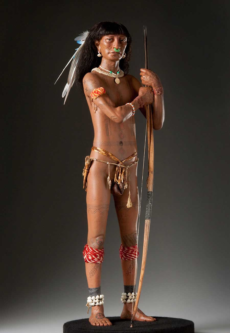 Full length color image of Caribe Warrior, by George Stuart.