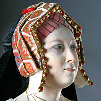 Left close up color image of Catherine of Aragon aka. Catalina de Aragón, by George Stuart.