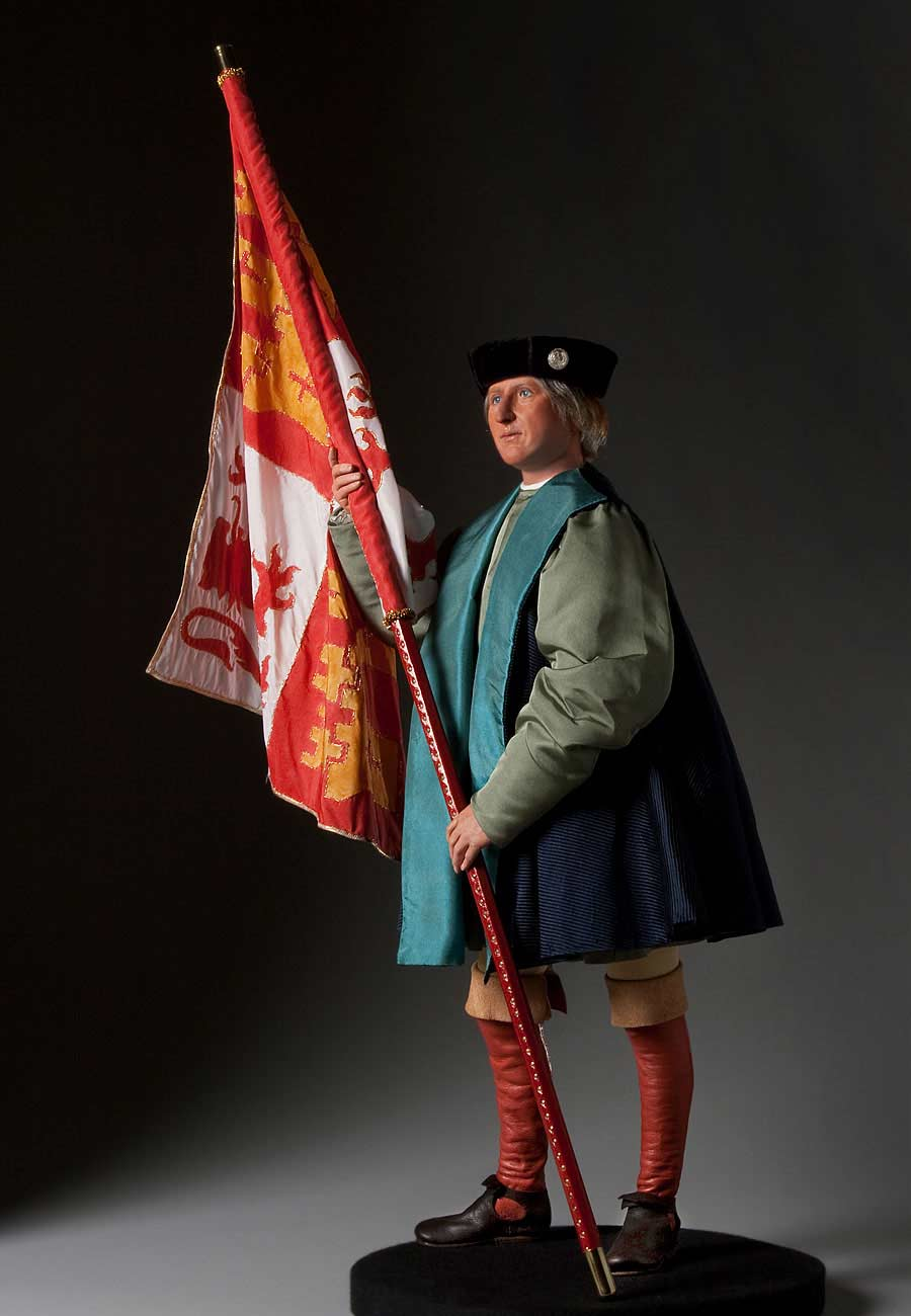 Full length color image of Columbus aka. Cristoforo Colombo, by George Stuart.
