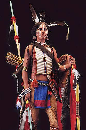 Portrait length color image of Comanche Warrior, by George Stuart.