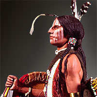 Right closup color image of Comanche Warrior, by George Stuart.