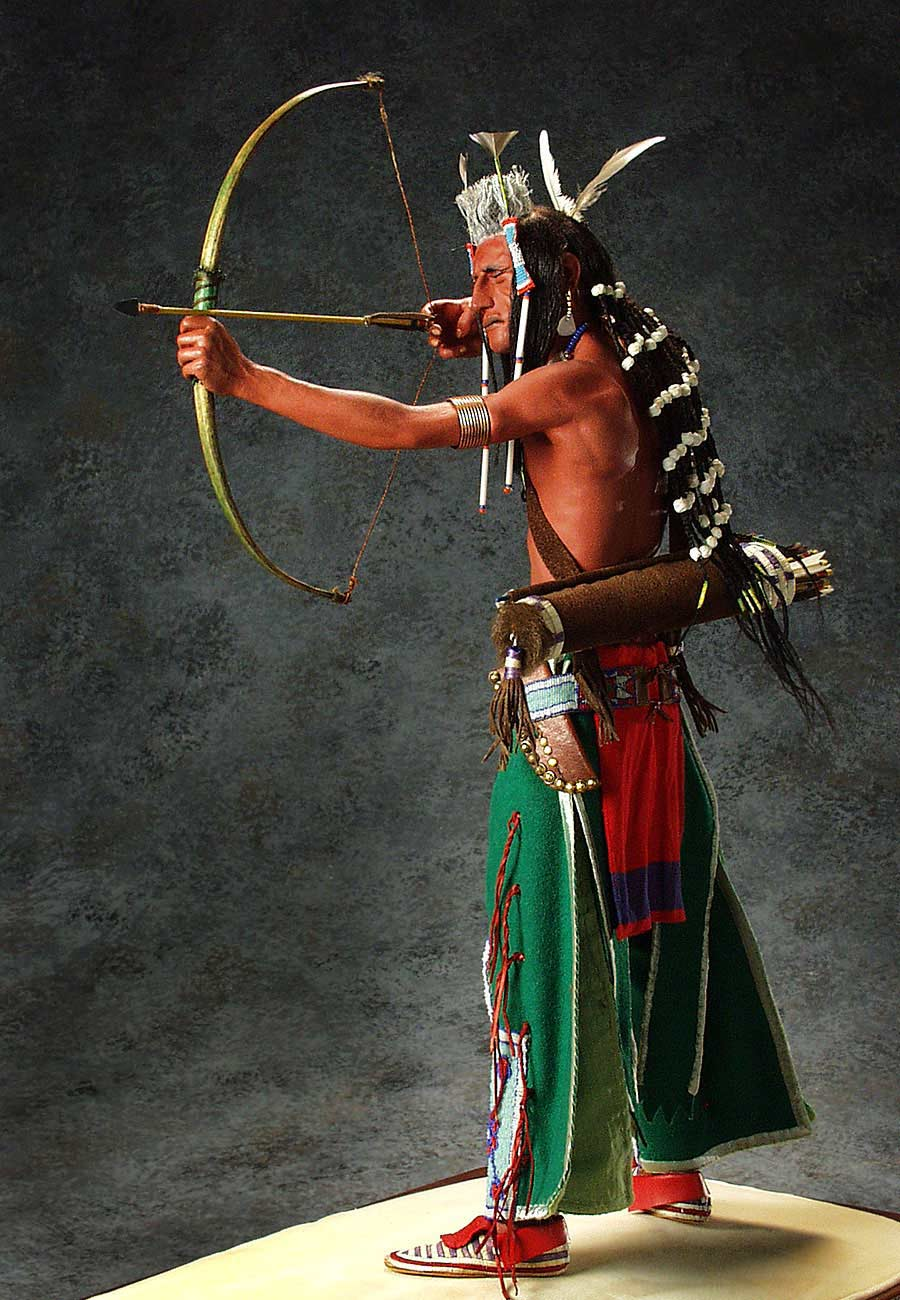 Full length color image of Crow Sharpshooter, by George Stuart.