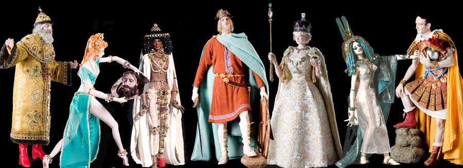 Image of Ivan IV, Salome, Queen of Sheba, Alfred the Great, Queen Elizabeth II, Cleopatra and Julius Caesar