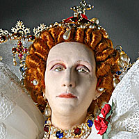 Left close up color image of Elizabeth I aka. Elizabeth I of England, Glorianna, Good Queen Bess, The Virgin Queen, by George Stuart.