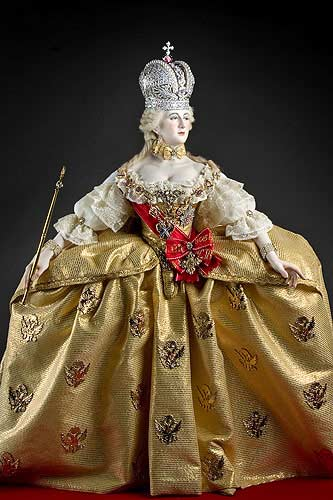 Portrait length color image of Empress Catherine II (robes of state) aka. Catherine the Great, by George Stuart.