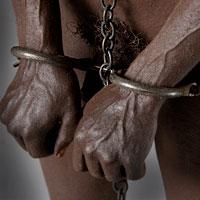 Left close up color image of Enslaved African , by George Stuart.