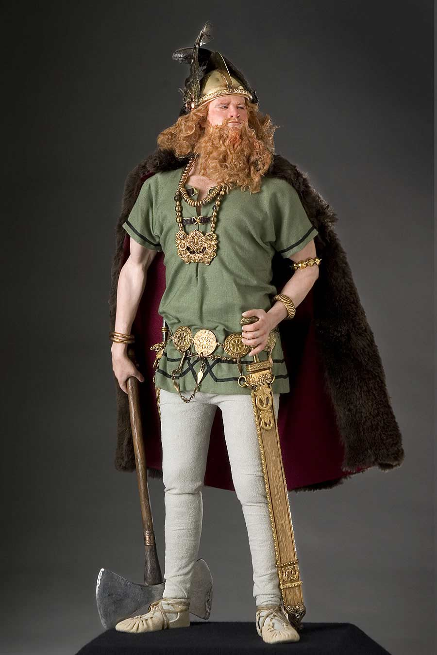 Full length color image of Erik the Red aka. Erik Thorvaldsson, by George Stuart.