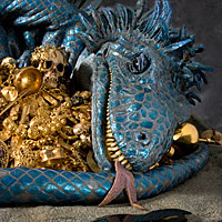 Right closup color image of Fafnir (dragon) aka. Fafnir the Frost Giant, by George Stuart.