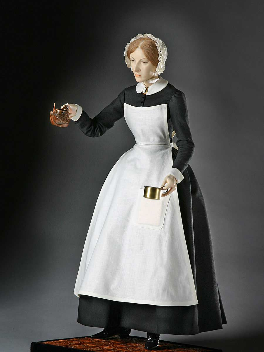 Full length color image of Florence Nightingale aka. The Lady with the Lamp, by George Stuart.