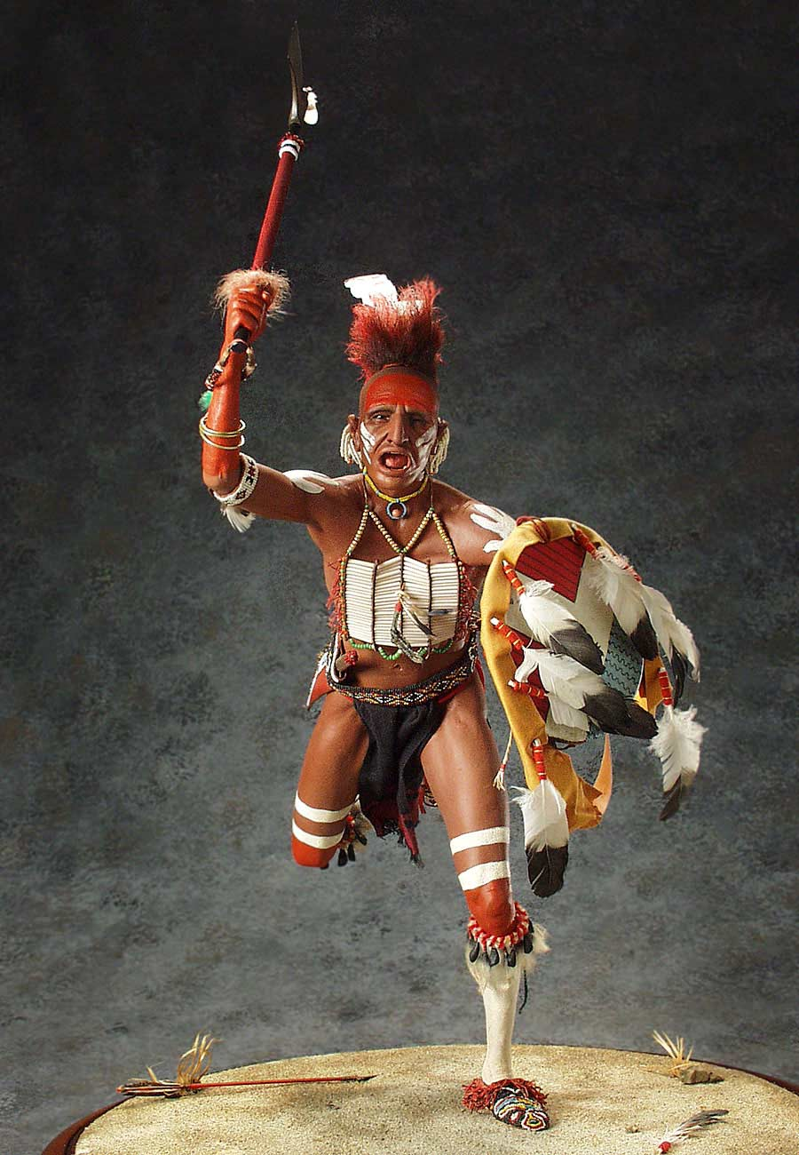 Full length color image of Fox Dog Soldier, by George Stuart.