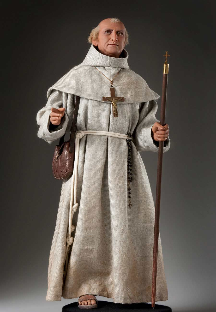 Full length color image of Fr. Junipero Serra 1782 aka. Fra Juníper Serra , by George Stuart.