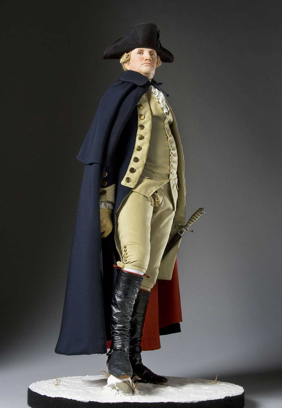 Full length color image of George Washington (at Valley Forge) aka.