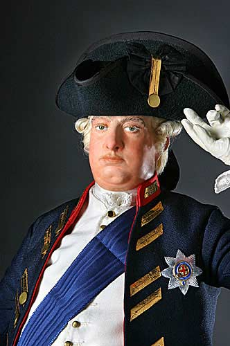 Portrait length color image of George III 1780 aka. George III of England, George William Frederick, by George Stuart.