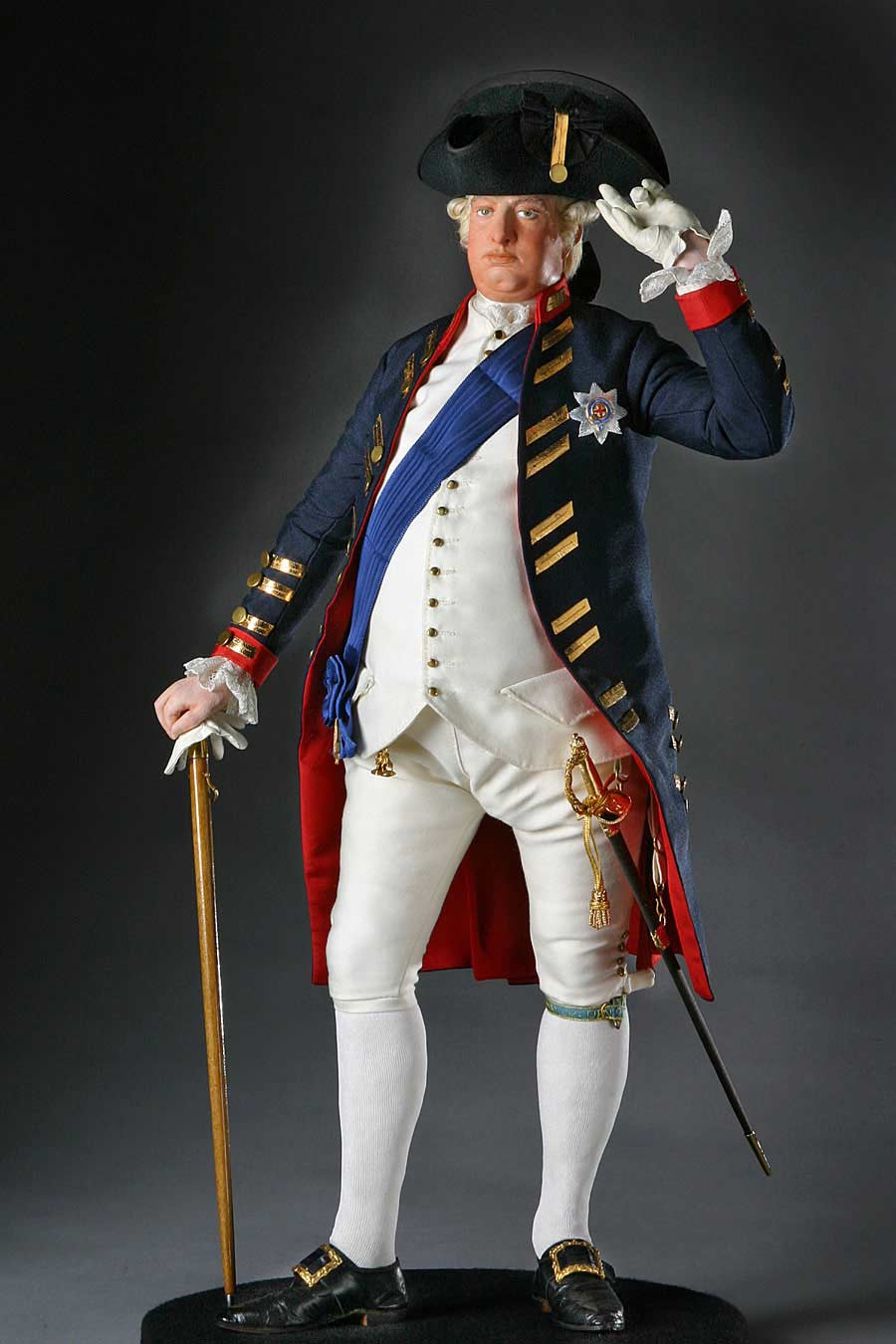Full length color image of George III 1780 aka. George III of England, George William Frederick, by George Stuart.