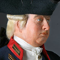 Left close up color image of George III 1780 aka. George III of England, George William Frederick, by George Stuart.