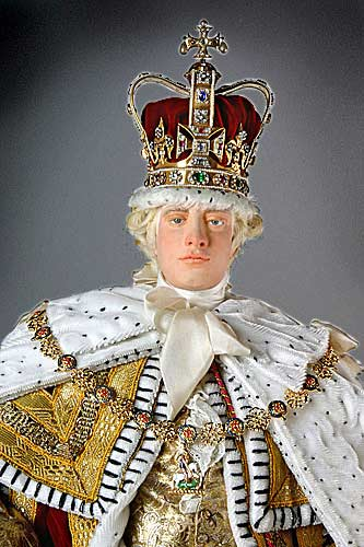 Portrait length color image of George III (Robes of state) aka. George III of England, George William Frederick, by George Stuart.