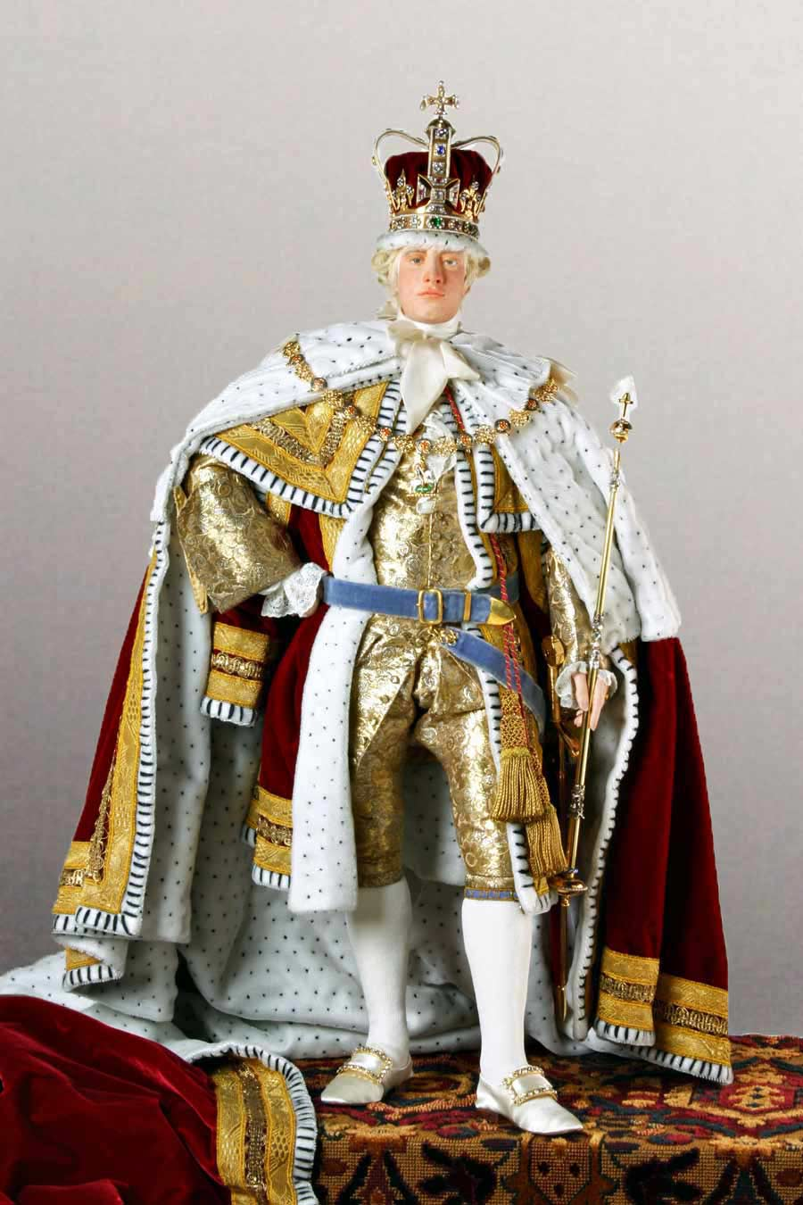 Full length color image of George III (Robes of state) aka. George III of England, George William Frederick, by George Stuart.