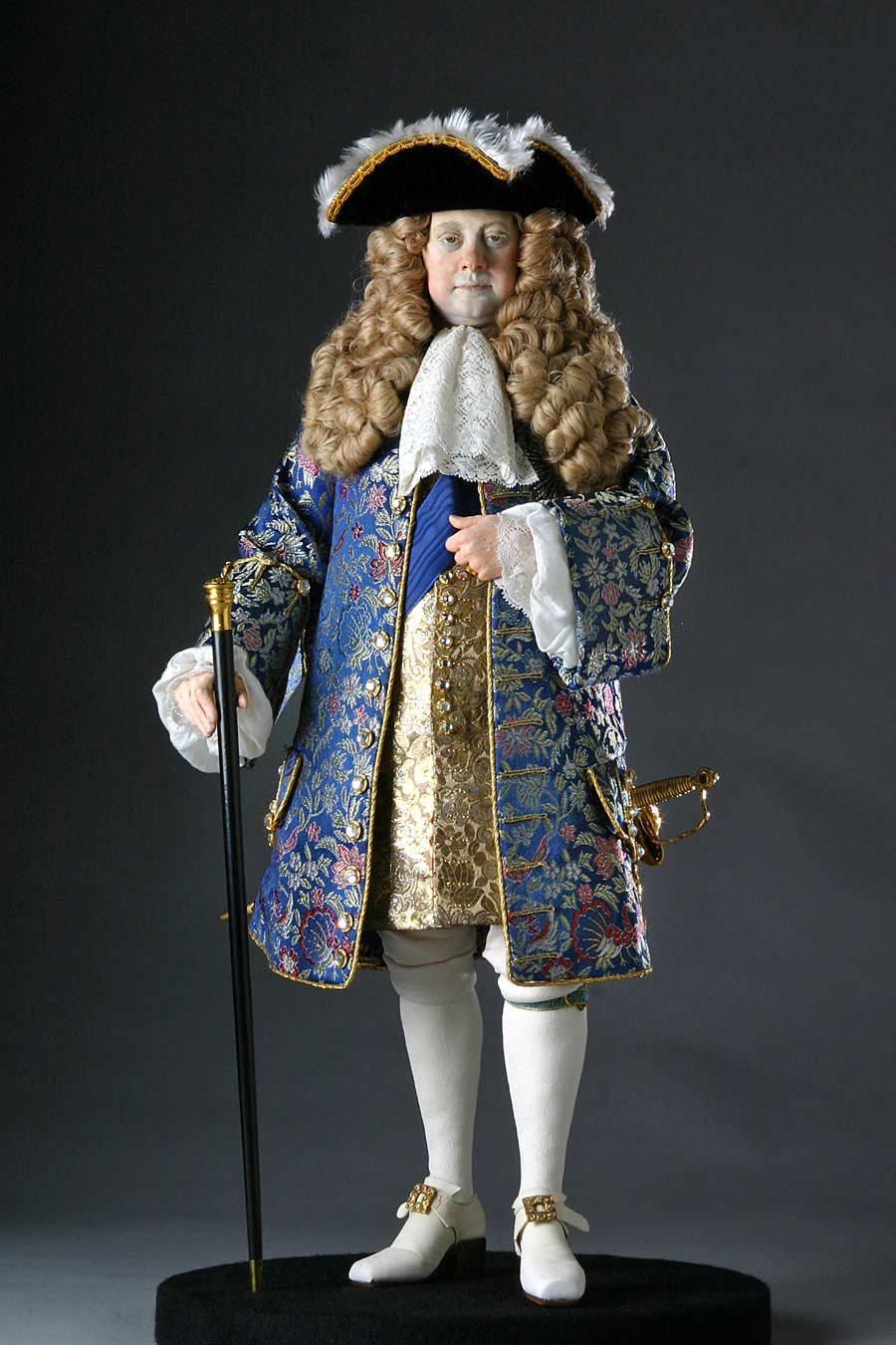Full length color image of George I aka. George I of England, George Louis, by George Stuart.
