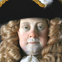 Right closup color image of George I aka. George I of England, George Louis, by George Stuart.