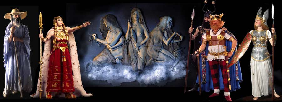 Image: Wotan as Wonderer, Brunhild as Shield maiden, Die Norns, Gunter, Hagen, Brunhild as Valkyrie.