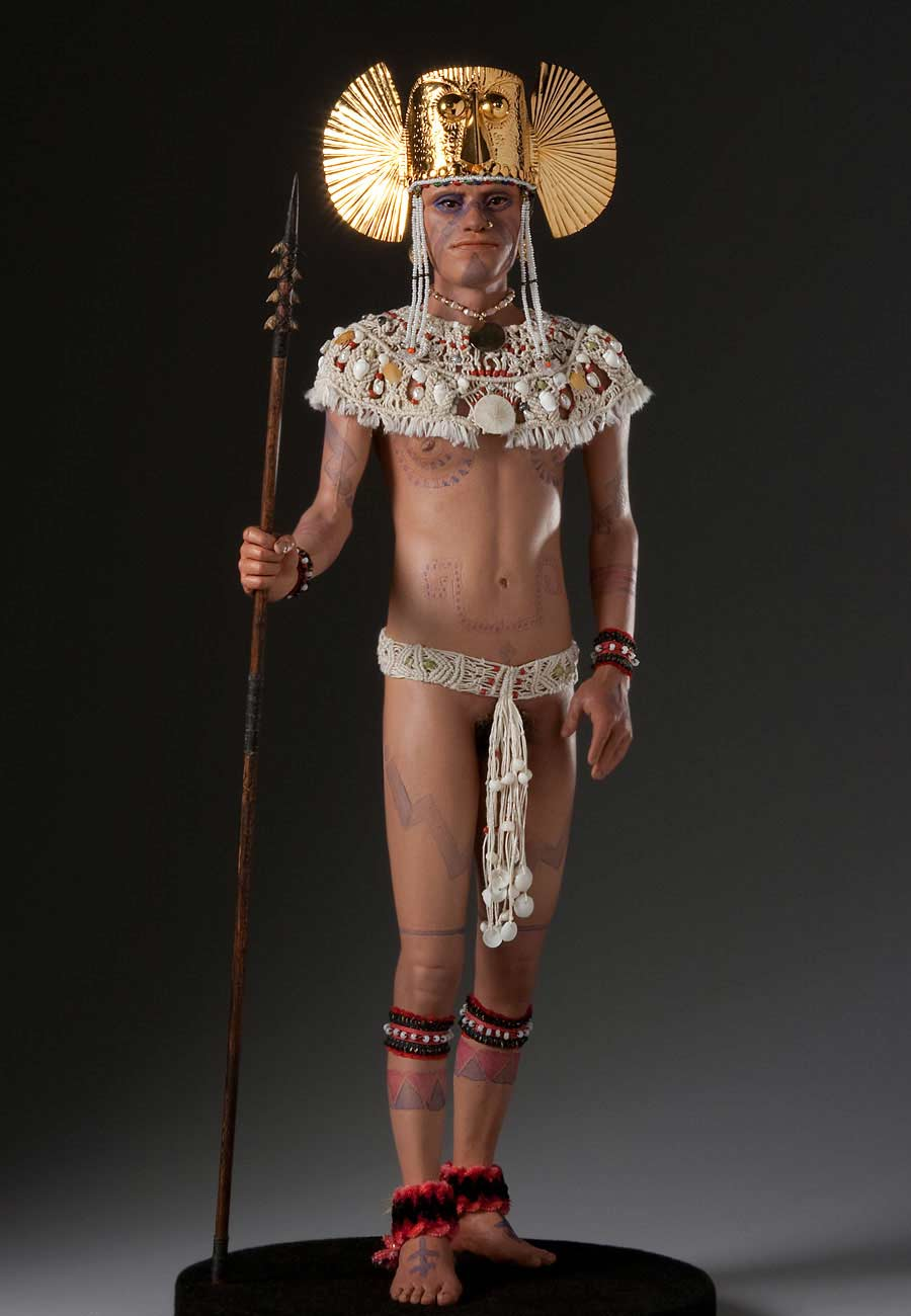 Full length color image of Guacanagari  Cacique, by George Stuart.