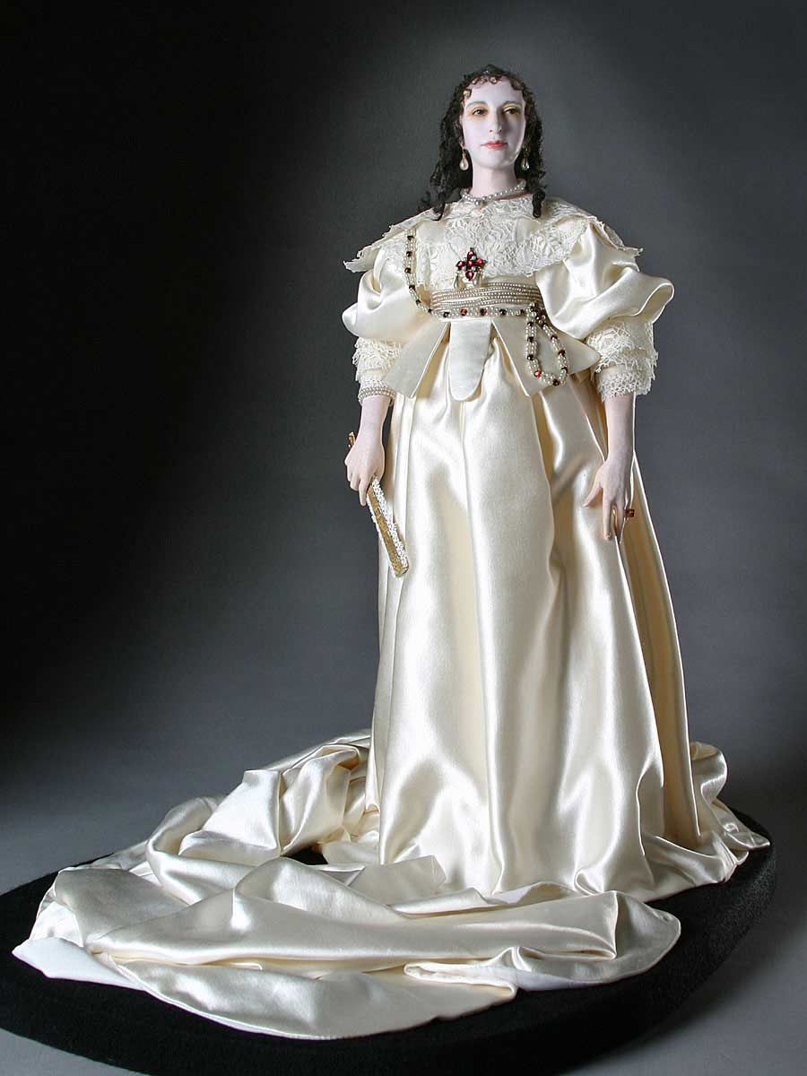 Full length color image of Henrietta Maria aka. Henrietta Maria of France, by George Stuart.