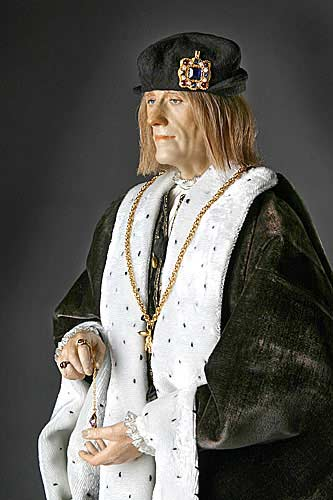Portrait length color image of Henry VII aka. Henry VII of England, Harri Tudur, by George Stuart.